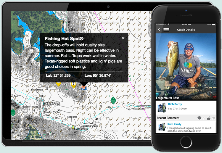 Image of a map displaying hot spots, weeds, rocks and more from Fishing Hot Spots