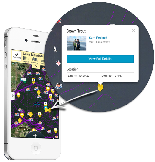 Screenshot of the Fishidy mobile app in map mode