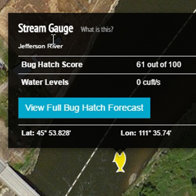 Photo of a stream gauge location on a map