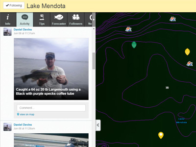 Live fishing report example for Lake Monona